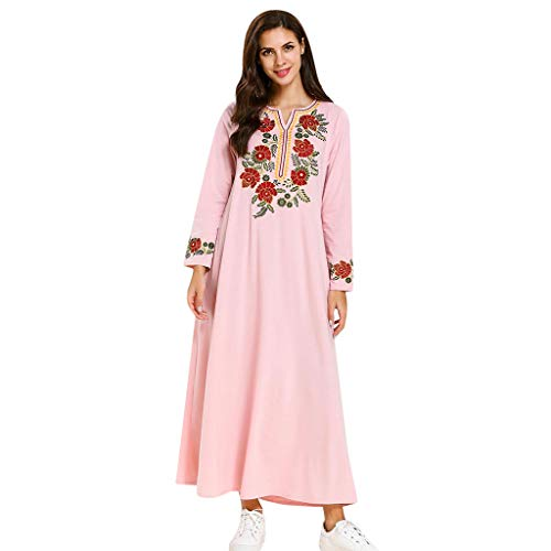 (HYIRI Retro Women's Muslim Islamic Abaya Dress Clothing Printed Flower Lady)