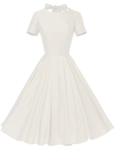 GownTown Womens 1950s Vintage Retro Party Swing Rockabillty Stretchy Dress - X-Large - Ivory