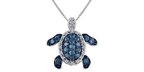 Jewel Zone US Blue & White Natural Diamond Prong Set Turtle Pendant Necklace 14k White Gold Over Sterling Silver (1/2 ()