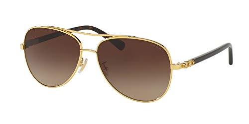 Coach Womens Sunglasses Gold/Brown Metal - Non-Polarized - 59mm