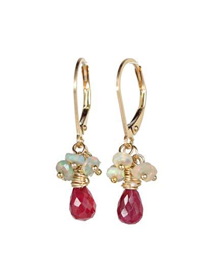 (Genuine Ruby Opal Gemstone Cluster Teardrop Gold Earring- 1