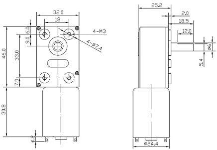 Color : 1rpm, tama/ño : 12V F-MINGNIAN-TOOL 1pc ZGY370 DC12V Reducci/ón Motor Turbo Worm Motorreductor DC 12V 1RPM 2rpm-100RPM 200 RPM el/éctrica de Caja de Cambios Reductor