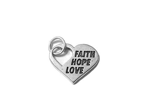 Hope Heart Love Charm Faith - Faith Hope Love Charm Sterling Silver 16mm, Heart Charm, 925 Sterling Silver Charm, Faith Charm, Hope Charm, Love Charm, Wedding charms-SP535