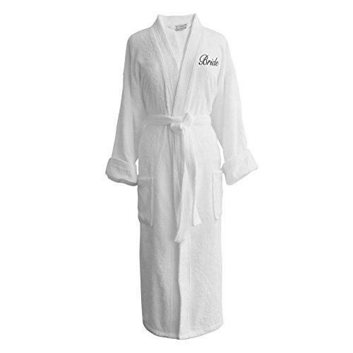 (Caravalli Egyptian Cotton Bath Robe, Terry Spa Robe Embroidered Bride Monogram)