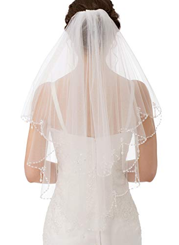 (Emondora 2T Short Sequin Pearl Edge Crystals Beaded Bling Wedding Bridal Veil Ivory)