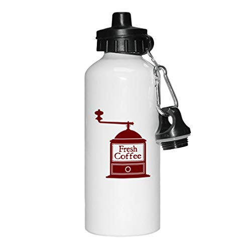 Style In Print Maroon Fresh Coffee Grinder Aluminun White Water Bottle