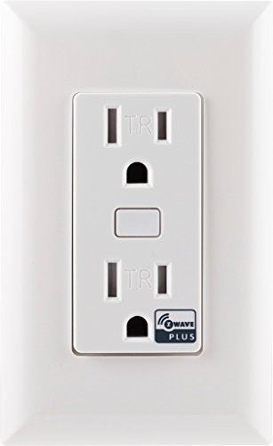 GE Z-Wave Plus Wireless Smart Lighting Control Duplex Receptacle Outlet, On/Off, In-Wall, White, Tamper Resistant, 1 Always On / 1 Controllable Outlet, Hub Required, 14288, Works with Alexa