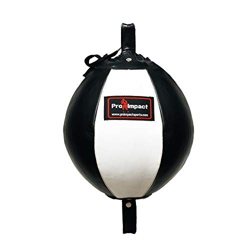 Pro Impact Genuine Leather Double End Boxing Punching Bag - Speed Striking & Dodge Training Ball - Includes Cords & Hooks for Gym Workout MMA Muay Thai (Black White 9 Inch)