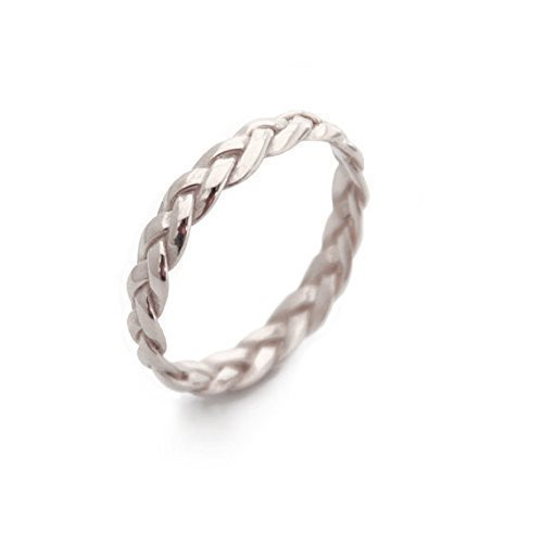 Handmade Wide Braided Ring, Unique Wedding Band Woman, White Gold rings for women, twisted ring band White Gold Braided Wedding Band