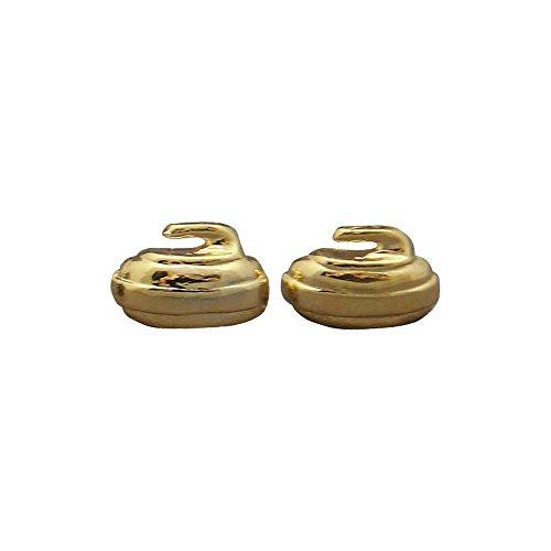 Curling Rock Stud Earrings: Gold - Curling Rocks