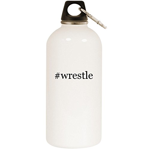 (Molandra Products #Wrestle - White Hashtag 20oz Stainless Steel Water Bottle with Carabiner)