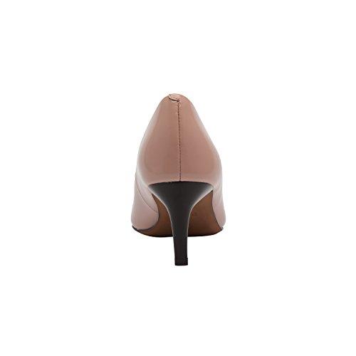 Linea Paolo Petra | Dames Leren Puntige Neus Halfhoge Comfortabele Pump (nieuwe Veer) Zeeschelp Leer
