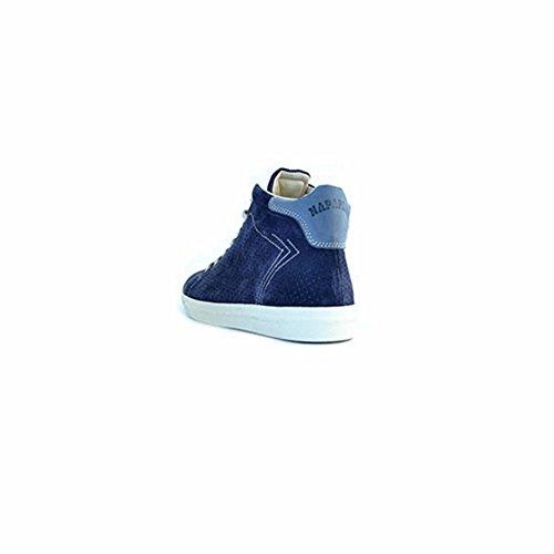 Scarpe sneakers Napapijri da uomo blu in camoscio traforato, foderate internamente in tessuto, logo sul tallone, lacci bianchi e suola in gomma.