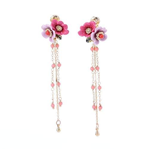 MYYQ. Long Tassel Earrings Brass Gold Plated Stud Earrings Ear Clip Length: ()