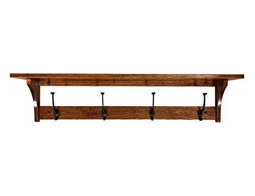 Wood Coat Rack Shelf Wall Mounted, Shaker, 4 Hook, Oak Wood, Michaels ()