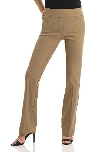 - Rekucci Women's Ease in to Comfort Boot Cut Pant (12,Oatmeal)