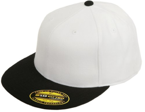 Flexfit Original Blank Flatbill Premium Fitted 210 Hat Cap Flex Fit Flat Bill Two Tone Small/Medium - White/Black