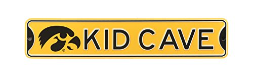 - Authentic Street Signs NCAA College Officially Licensed STEEL Kid Cave Sign-Decor for sports fan bed room! ... (Iowa Hawkeyes)
