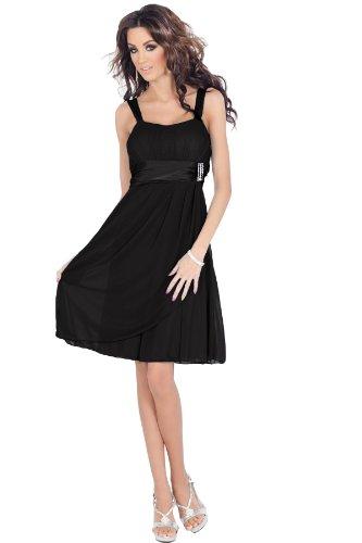H1380 schwarz Designer ärmel Strass Empire-Taille Sheer Layer-Abend-Brautjungfer Prom Cocktailparty-Minipartykleid Clubwear Promi-Stil [Color Black UK SIZE Medium (10-12) DEUTSCHLAND SIZE (38-40)]