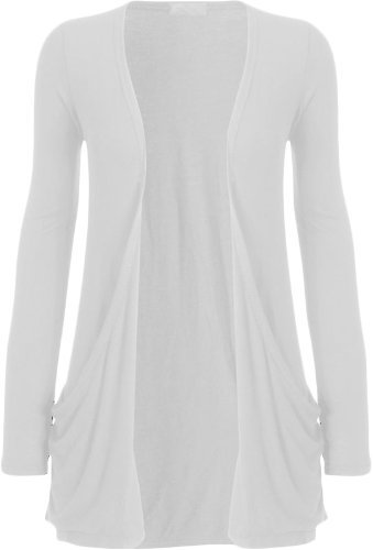 Fashion Womens Boyfriend Pocket Cardigan Shrug Sweater (M/L (10/12), WHITE)
