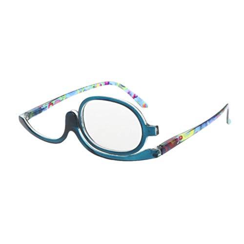 Tyjie Rotatable Flip Makeup Glasses, Magnify Makeup Presbyopic Eyewear 1.00-4.00 Diopter (+2.00, Blue)