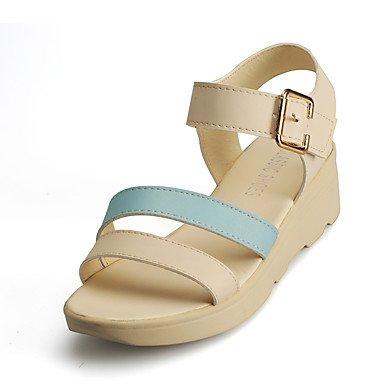 LvYuan Mujer Sandalias Confort PU Primavera Verano Otoño Casual Paseo Confort Hebilla Tacón Cuña Beige Azul Rosa 2'5 - 4'5 cms Blue