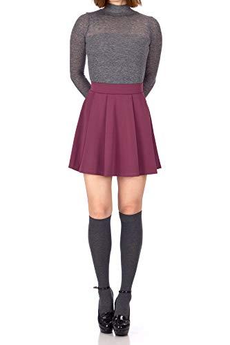 Dani's Choice Sweet Elastic Waist School Uniform Cheerleader Tennis Pleated Mini Skirt School Uniform Cheerleader Tennis (L, Bordeaux Wine)