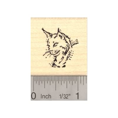 Small Lynx Wildcat Portrait Rubber Stamp: Arts, Crafts & Sewing