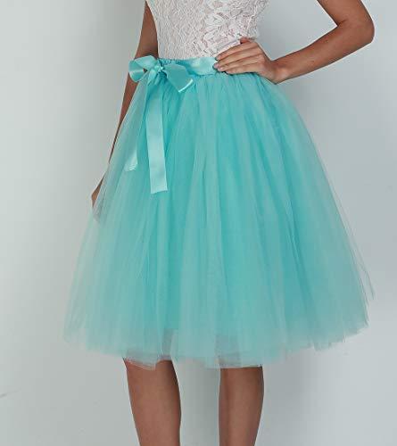 Bouffante Rockabilly Bleu Ciel Pour Jupe Lau's Longue Tutu Femme Jupon 7 Mariage 65cm Couches Tulle Princesse En 35jL4RcAq