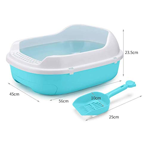 bluee ZMMA ZMMADouble-decked cat sandbox Pinewood large semi-enclosed cat sandbox toilet drawer feces basin cat bedpan,bluee