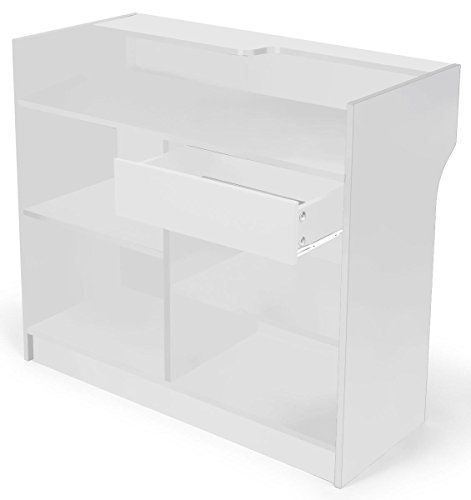 "Displays2go 48"" Cash Wrap with Storage, Laminated Particle Board, Shelves, Drawer – White Finish (MRCLT48WH) by Displays2go (Image #1)"