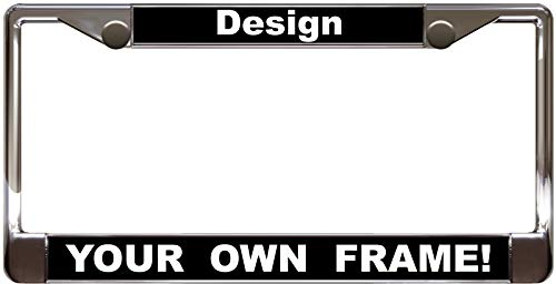 Custom Personalized Chrome Metal Car License Plate Frame with Free caps - Black/White