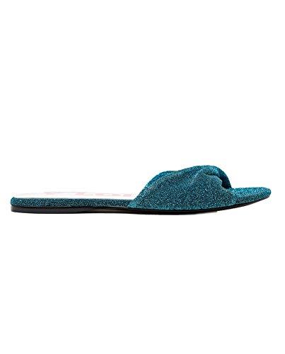 Bimba y Lola Women's Turquoise Flat Lurex Sandal 181BZ0766 2wGs3