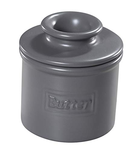 The Original Butter Bell Crock by L. Tremain, Cafe Matte Collection - Steel Gray Matte