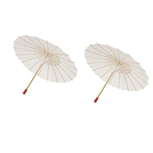 LUOEM 2Pcs White Paper Parasol Umbrella Chinese Japanese Paper Umbrella Wedding Decoration ()