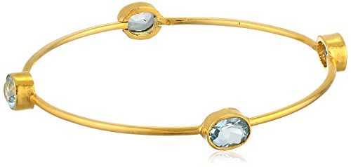 Gold-Plated Sterling Silver Faceted Sky Blue Topaz Bangle Bracelet, (Bangle Blue Topaz Bracelet)