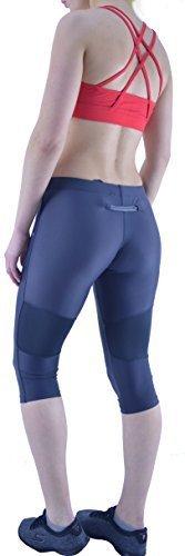 Damen Yoga Turnen Leggings Damen Training Fitness Laufen Active Training Sport - Grau, XL - 46
