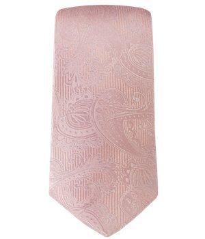 Twill Clip (The Tie Bar Twill Paisley 100% Woven Silk Blush Pink Skinny Tie)