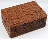 AzureGreen FBBXT Triquetra Wooden Carved Box