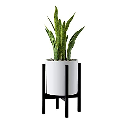 FaithLand Plant Pot 10 inch - Perfectly Fits Mid-Century Modern Plant Stand - Drainage Plug and Drainage Mesh Screen - Matte White Planter Pot : Garden & Outdoor