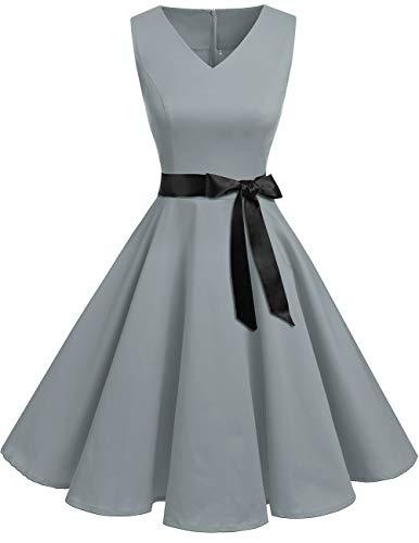 Bridesmay Women's V-Neck Audrey Hepburn 50s Vintage Elegant Floral Rockabilly Swing Cocktail Party Dress Grey - Style Dresses Formal Vintage
