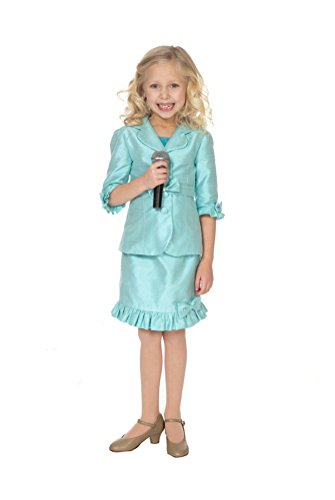 [HSDJ Girls' Two Pieces Bow Knee Length Pageant Dress Interview Suits 12 US Turquoise] (Pageant Suits)