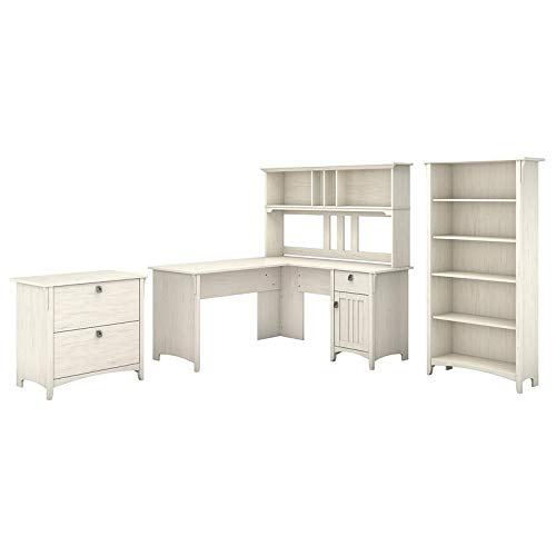 - Bush Furniture Salinas 60W L Shaped Desk with Hutch, Lateral File Cabinet and 5 Shelf Bookcase in Antique White