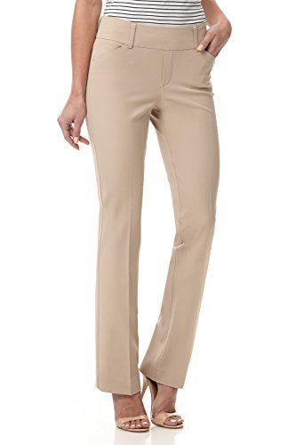 - Rekucci Women's Smart Chic Bootcut Pant in Ultimate 360 Degree Stretch Cotton (4,Sand)