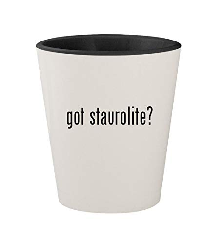 got staurolite? - Ceramic White Outer & Black Inner 1.5oz Shot (Staurolite Crystal)