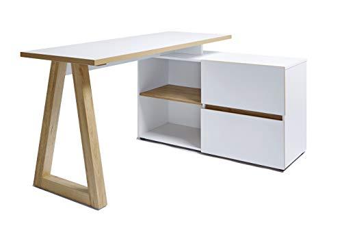 Marque Amazon –Movian Stanberg – Bureau d'angle à 2 tiroirs, 140x110x76cm, Finition chêne/blanc