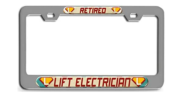 """Chrome License Plate Frame /""""Retired Electrician/"""" Auto Accessory Novelty"""