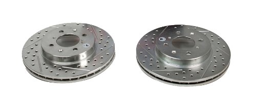 Pair BAER 03185-020 Sport Rotors Slotted Drilled Zinc Plated Front Brake Rotor Set