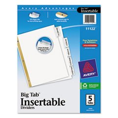 (3 Pack Value Bundle) AVE11122 WorkSaver Big Tab Dividers, Clear Tabs, 5-Tab, Letter, White by AVE11122
