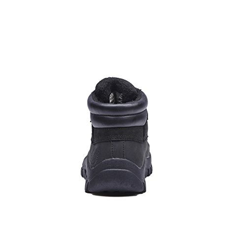 KINGSHOW Mens M0705 Water Resistance Leather Rubber Sole Winter Snow Boots Black 1428-2 me6WveBCo